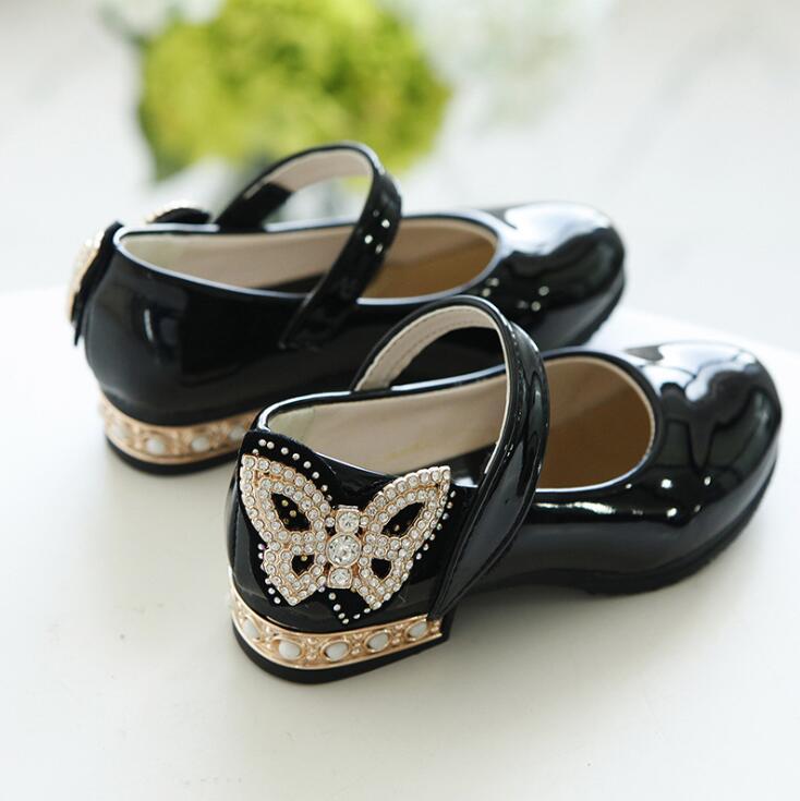 Klug Neue Frühjahr Pu Strass Schmetterling Prinzessin Party Elegante Hochzeit Schuhe Für Mädchen Flache Beiläufige Leder Kinder Schuhe