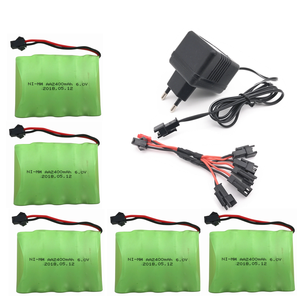 6v 2400mah AA NI-MH Battery with charger High capacity electric toy battery Remote car ship robot rechargeable 6 v 2400 mah
