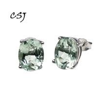 CSJ 925 пробы серебряные ювелирные украшения настоящий натуральный зеленый аметист простые хорошие серьги для женщин леди свадебные вечерние