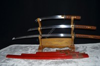 Full Tang Samurai Japanese Sword Set Katana Wakizashi Tanto 1060 High Carbon Steel Blade Hand Forged 3 Japan Swords Battle Ready