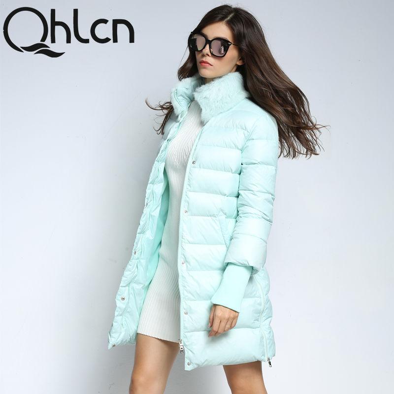QHLCN 2016 Новый зимний женский пуховик-пальто средней длины, женская куртка с мехом кролика, зимнее пальто женское