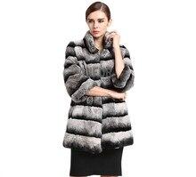Womens Real Rex Rabbit Fur Coat Imitated Chinchilla Long Jacket Full Pelt Fur Outwear Warm Overcoat Winter Parka AU00478