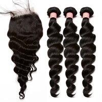 3 Luźne Fale Człowieka Wiązki Włosów Z Zamknięcia 4X4 Brazylijski włosy Wyplata Wiązek Czynienia Remy Natura Kolor Miodu Królowa Włosów produkty