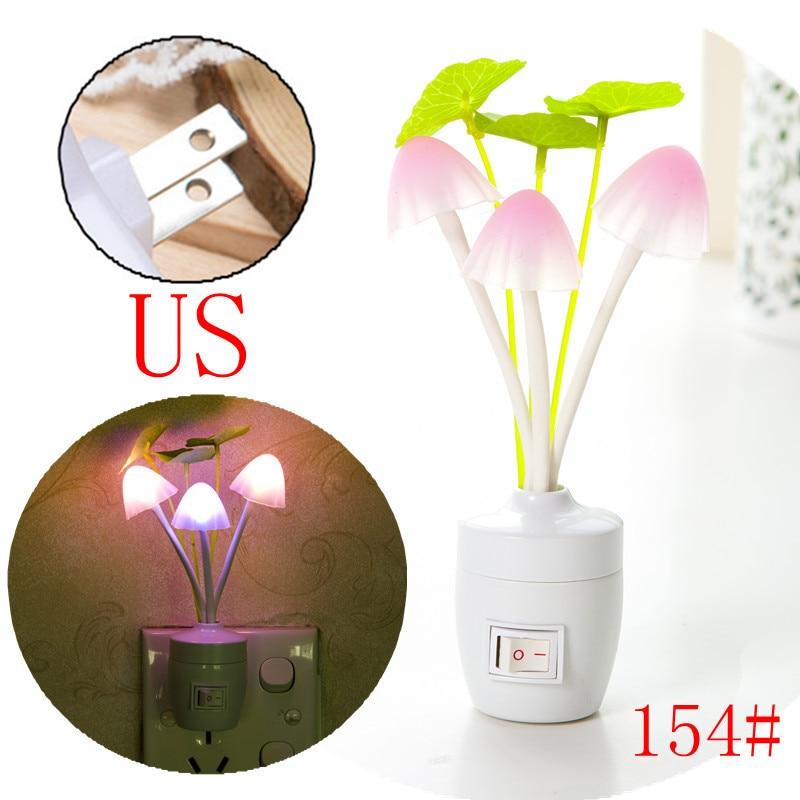 Light-controlled Fantasy Mushroom Led Bedroom Creative Night Light EU US Plug