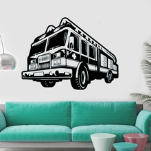 Fire Car Wall Decal Firefighter Vinyl Stickers New Design Style Murals Engine Fireman Removable Wallpaper AY1107