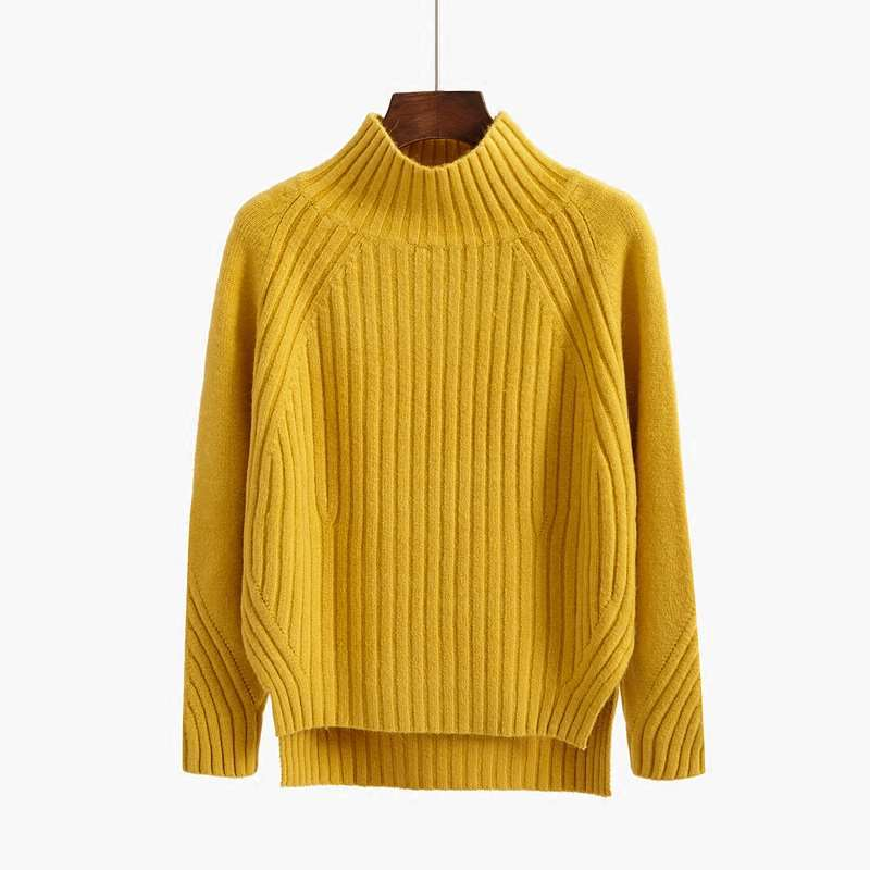 Womens Split Sweaters Solid Autumn Winter Knit Turtleneck Long Sleeve Female Pullovers Woman Tops Sueter Mujer 6 Colors LS072