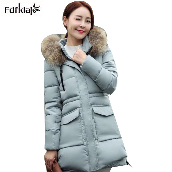 Luxury fur collar hooded winter jacket women 2017 new brand female parkas thick warm women's winter cotton coats A308 фен redmond rf 511 2200 вт