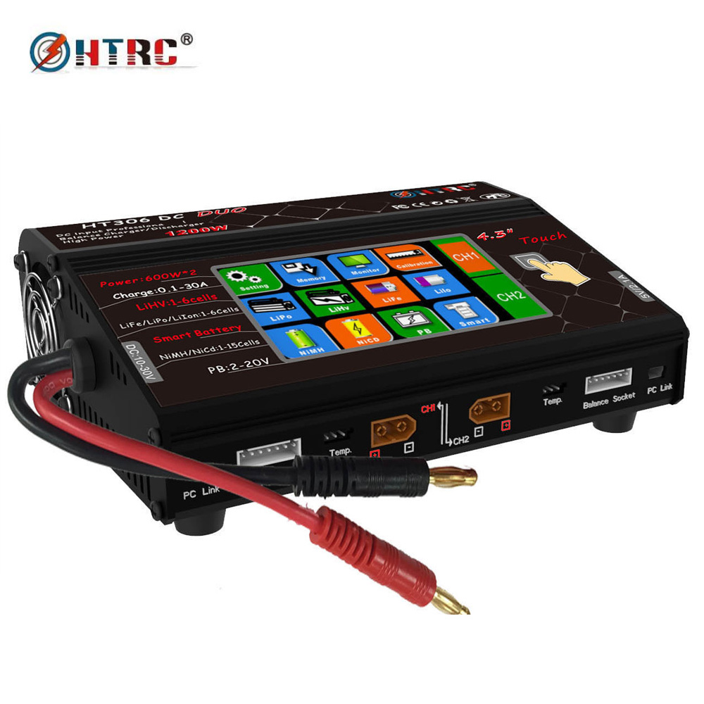 HTRC HT306 DC DUO 600W*2 30A*2 Dual Port 4.3 Color LCD Touch Screen RC Balance Charger for Lilon/LiPo/LiFe/LiHV Battery тепловая завеса daire ht 306