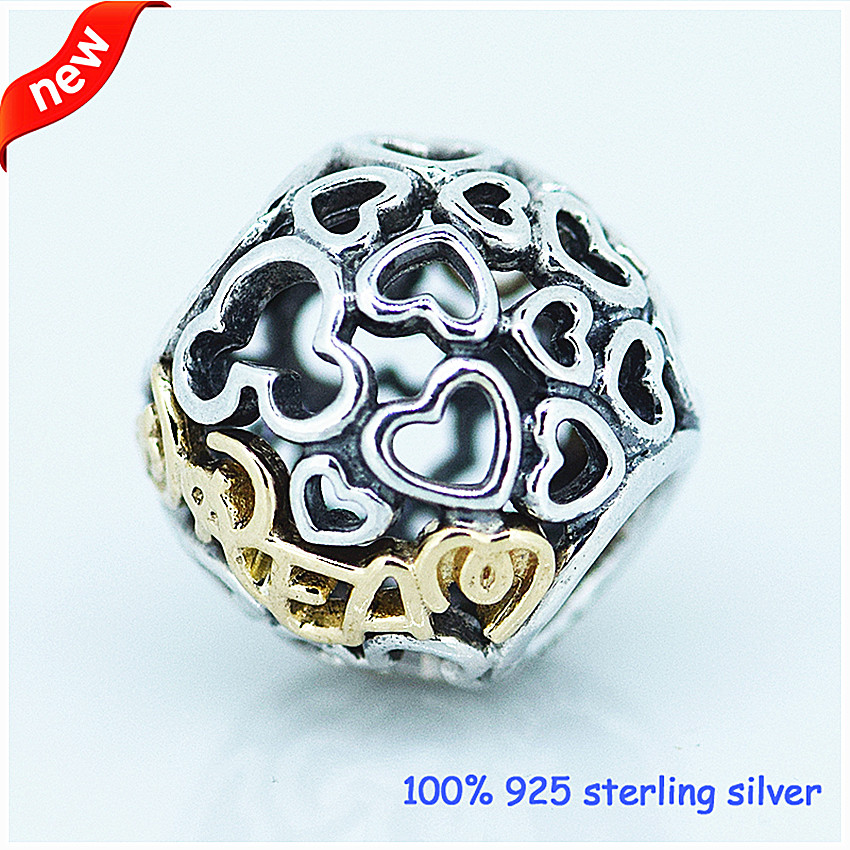silver bracelets with 14k real gold 100% 925 authentic sterling silver fashion jewelry free shipping 100% 925 Sterling Silver 14K Real Gold Dream Beads Two Tone Charm Beads for Jewelry Making Fit Bracelets DIY Fine Jewelry PF113K