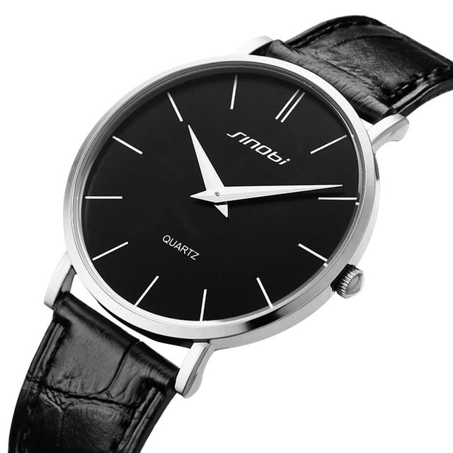 Super slim Quartz Casual Wristwatch Business JAPAN SINOBI Brand Leather Analog Quartz Watch Men's Fashion 2017 relojes hombre