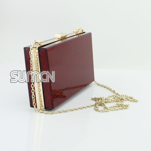 New Arrival Fashion Acrylic Perspex Evening Wine Red Women Bag Clutch Purse Handbag Whole