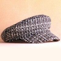 2018 British Style Beret Sun Hat Black White Vertical Stripe Beret Cap Navy Hat Woman Men
