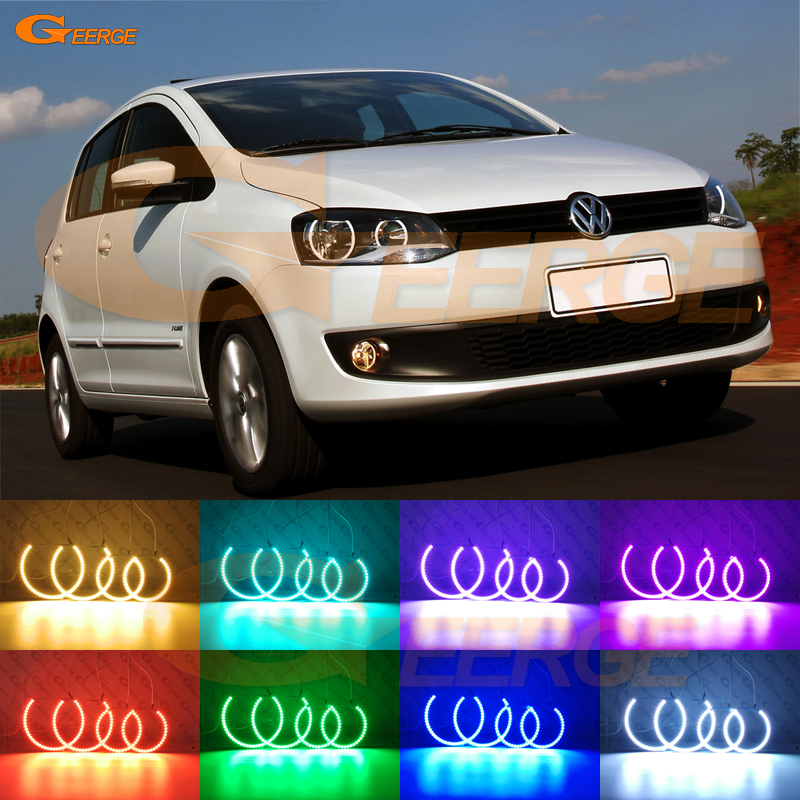 For Volkswagen VW Fox CrossFox 2010 2011 2012 2013 2014 Excellent Multi-Color Ultra bright RGB LED Angel Eyes kit Halo Rings for lifan 620 solano 2008 2009 2010 2012 2013 2014 excellent angel eyes multi color ultra bright rgb led angel eyes kit