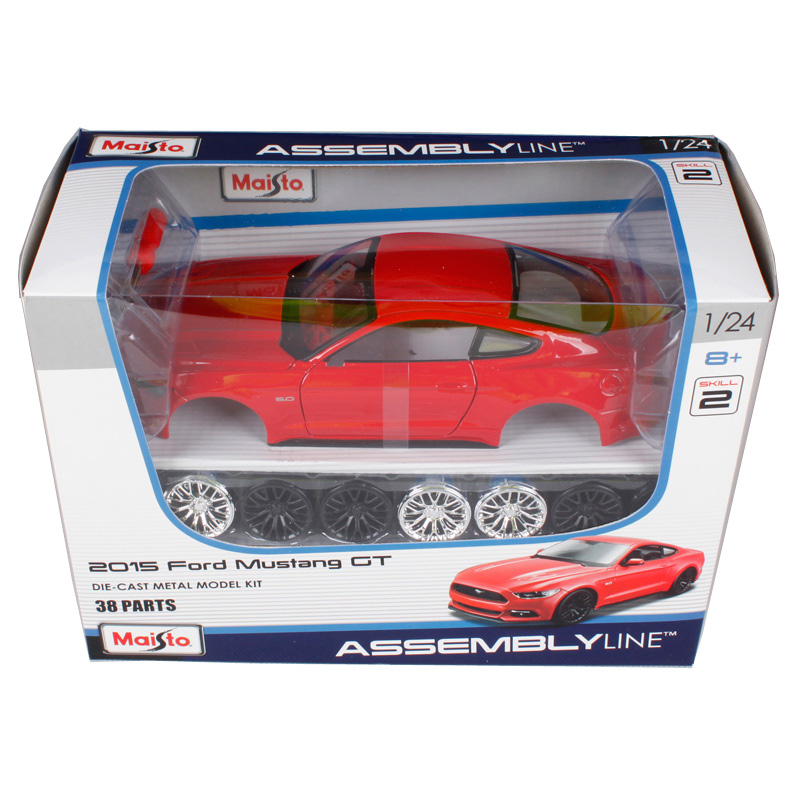 Maisto 1:24 2015 ford mustang assemble red car diecast kits 38 parts vehicle model diecast mannal toy car model for kids 39126 hot sale ford mustang police 1 18 welly s281 original alloy car model toy matte black fast