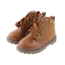 Children Martin Boots Kids Boys Genuine Leather Boots Snow Waterproof Shoes Rivet with Rhinestone Boots Girls Warm Shoes
