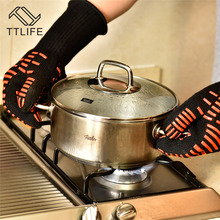 TTLIFE Heat Resistant thick Silicon Kitchen barbecue oven BBQ Grill Glove Long Extreme Heat For Extra Forearm Protection