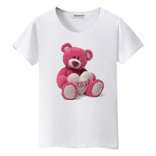 BGtomato pink Teddy bear tshirt cute tee shirt femme lovely tops cool summer t shirt women lovely Teddy bear t-shirt haut femme