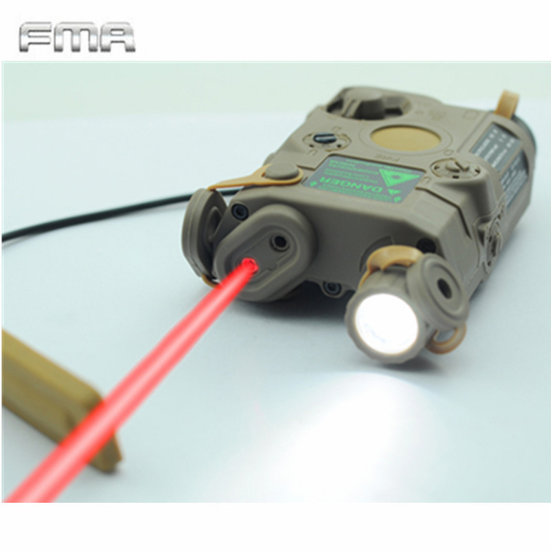 Original FMA Tactical Military Airsoft AN/PEQ-15 Battery Box Laser Red Dot Laser With White LED Flashlight and IR Lens Tan/BK цена