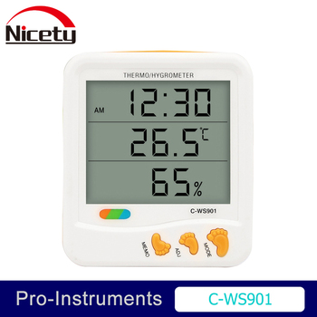 Nicety C-WS901 Electronic digital LCD temperature InDoor Outdoor thermometer humidity meter Max Min Clock  Alarm Null digital clock