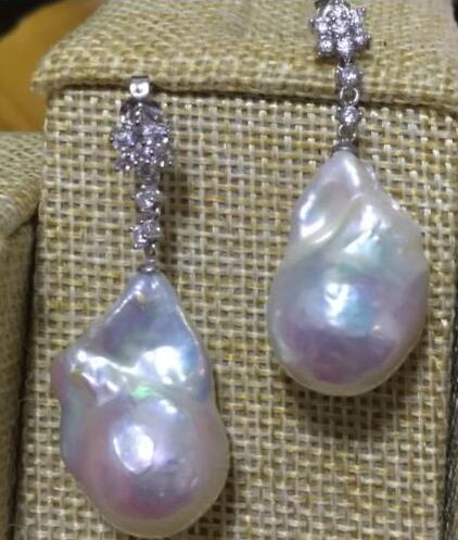 Free shipping charming pair of 17-21mm south sea baroque white pearl dangle earring 925s цена