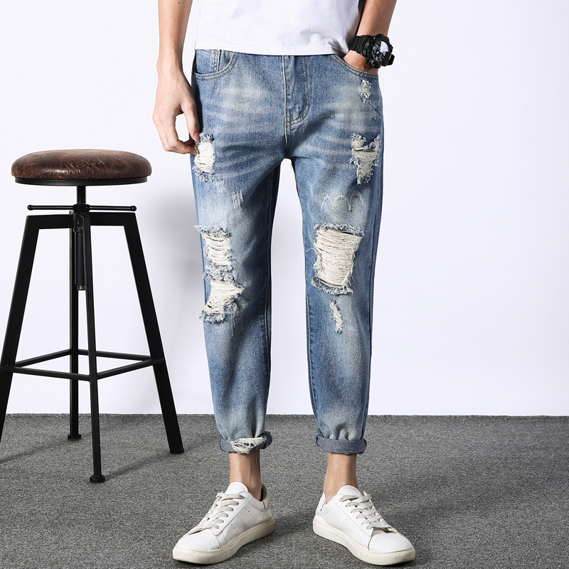 2018 New Korean Men Fashion Casual Classic Blue Loose Joker Holes Denim Pants Stretch Slim Fit Jeans Homme Tide Cowboy Trousers