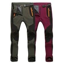 LoClimb Stretch Waterproof Ski Hiking Pants Women Men Outdoor Sport Trousers Warm Fleece Softshell Pants For Trekking,AW079