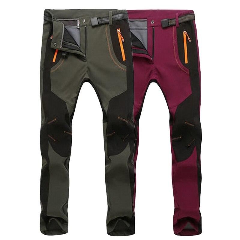 LoClimb למתוח מכנסיים סקי מסלולי טיולים ספורט גברים נשים חיצוני עמיד למים חם גיזת Softshell מכנסיים לטרקים, AW079