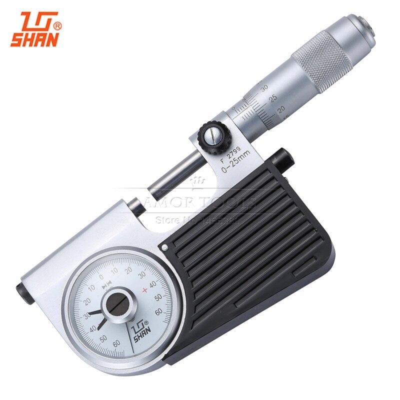 SHAN Indicating Micrometers 0-25mm/0.003mm Micrometer Head Indicator Carbide Screw Thread Gauge Vernier Caliper Measuring Tools  цены