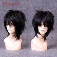 Парик MCOSER из черных коротких волос длиной 30 см, для вечеринки в стиле Лолиты, искусственные волосы, модные сексуальные парики для косплея ан...