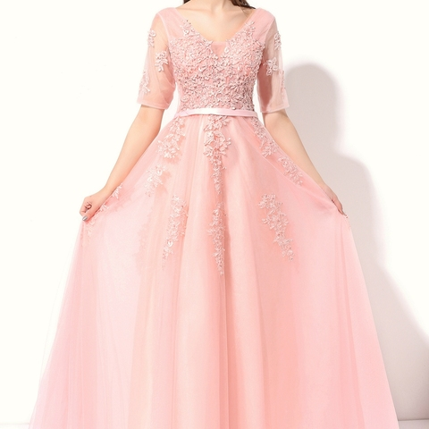 SSYFashion Lace Evening Dress The Bride Banquet Sexy V-neck Half Sleeves Embroidery Long Party Prom Dress Robe De Soiree Custom Lahore