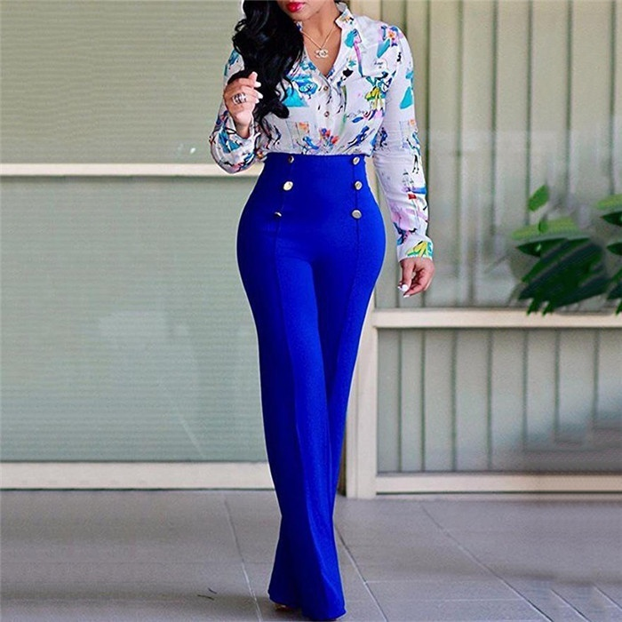 2019 Spring Autumn Women Business Pants High Waist Wide Leg Pants Office Lady Style Work Wear Formal Pants Loose Solid Trousers