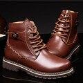 Большой Размер 37-50 Мужчин Снегоступы Моды Мартин Сапоги Обувь Из Натуральной Кожи мужская Мода Повседневная Обувь Мужчины хлопка Сапоги