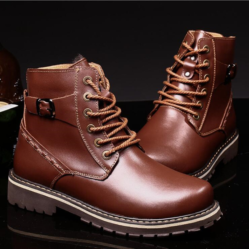 ФОТО Big Size 37-50 Men Snow Boots Fashion Martin Boots Genuine Leather Shoes Men's Fashion Casual Shoe Men Cottton Boots