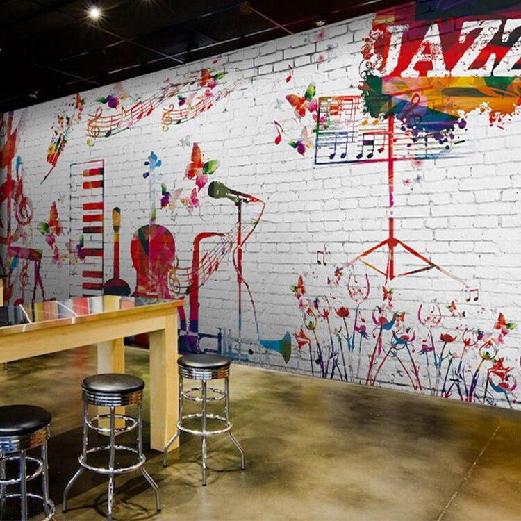 Custom 8d Papel Mural Garabato Jazz Musica Blanco 3d Ladrillos