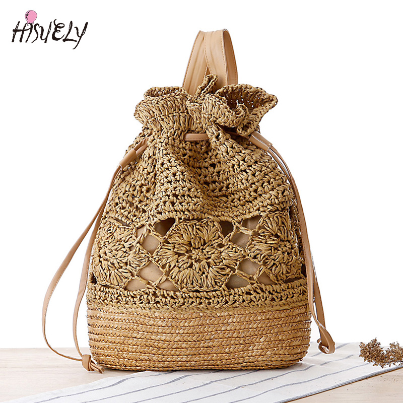Summer Crochet Straw Bag Backpack Vines Beach Knitting Bag Women Drawstring Bags Sackpack Travel Back Pack Hollow Out Bohemia