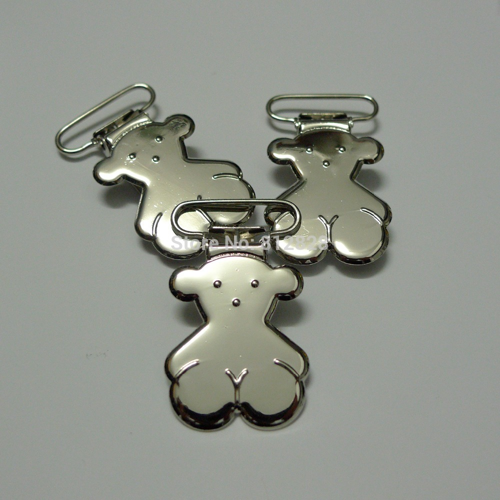 25pcs 1'' 25mm Silver Colored Cute Bear Suspender Clips