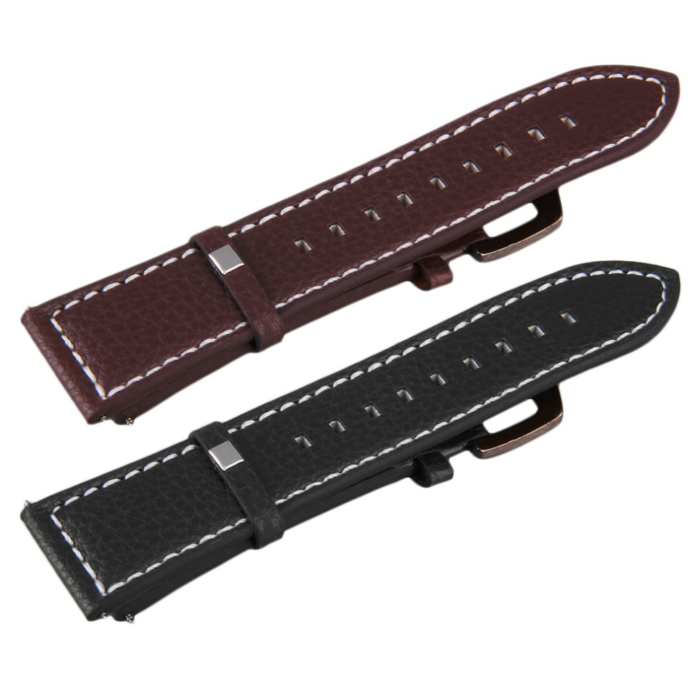 100% Men Genuine Leather Military Watch Strap Watch Band Stainless Buckle 24MM Durable Hot!