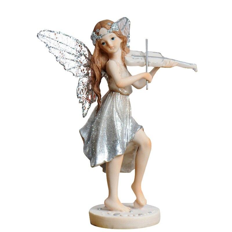 Décorations de chambre d'enfants européennes fille Instrument de musique ange ornements petit violoncelle guitare fleur fée ameublement M1916