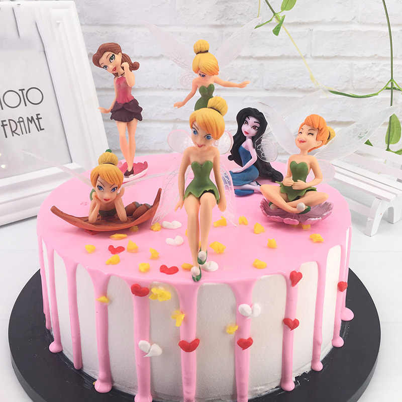 Cute Tinkerbell Fairy PVC Action Figures Princess Tinker Bell Cake Topper For Kids Birthday Decoration