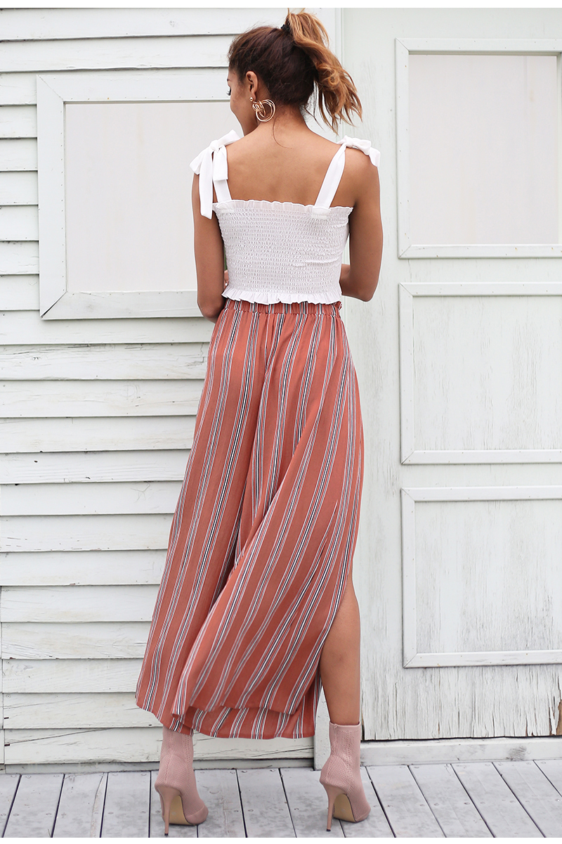 Simplee High split stripe wide leg pants women Summer beach high waist trousers Chic streetwear sash casual pants capris female 4