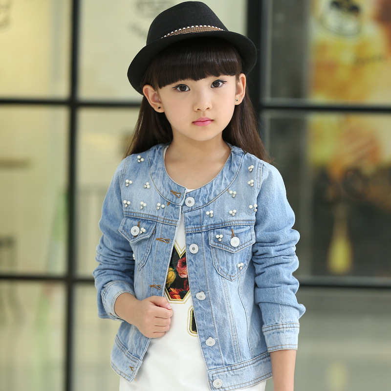 цена Korean 2018 Spring Summer Girls Fashion Denim Jacket Kid Casual Short Style Round Collar Beading Long-Sleeve Outerwear Coat G580