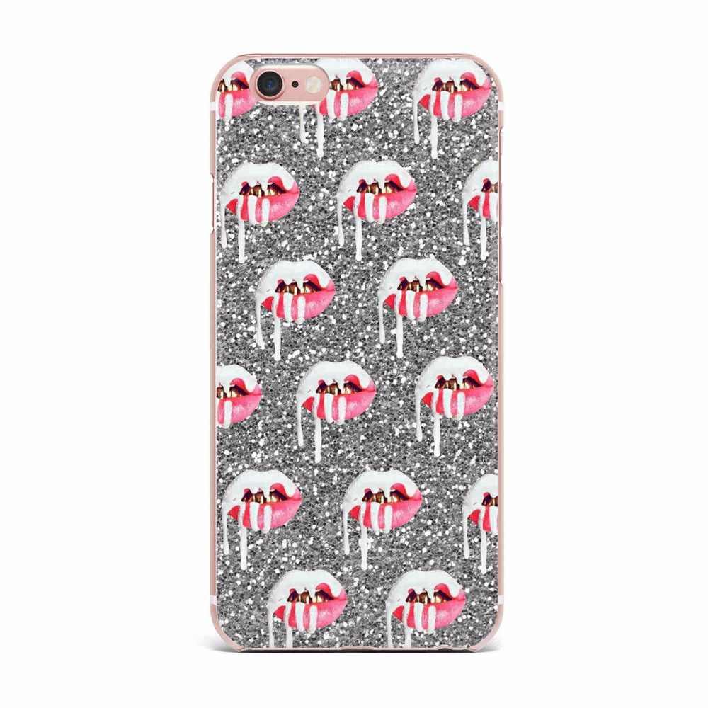Fundas de teléfono chica Sexy Kylie Jenner labios beso claro silicona de TPU blando funda para iPhone X de Apple 5 5S SE 6 6s 6 7 8 Plus Coque