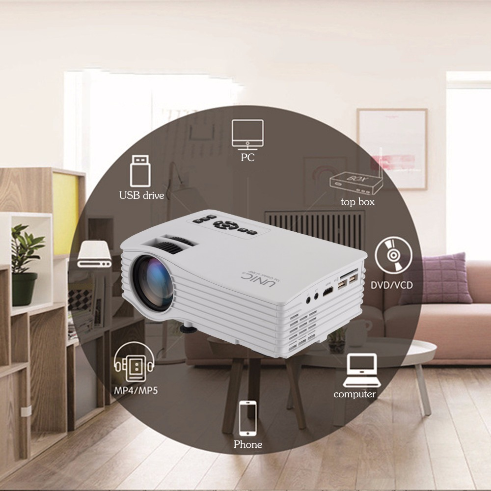 Nuevo tipo de au/eu/uk/ee.uu. plug unic uc36 dlp wifi mini pico proyector láser