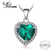 JewelryPalace Kalp Okyanusu'nun 2.4ct Yeşil Rus Nano Oluşturulan Zümrüt Aşk Sonsuza Halo Kolye Saf 925 Ayar Gümüş Takı