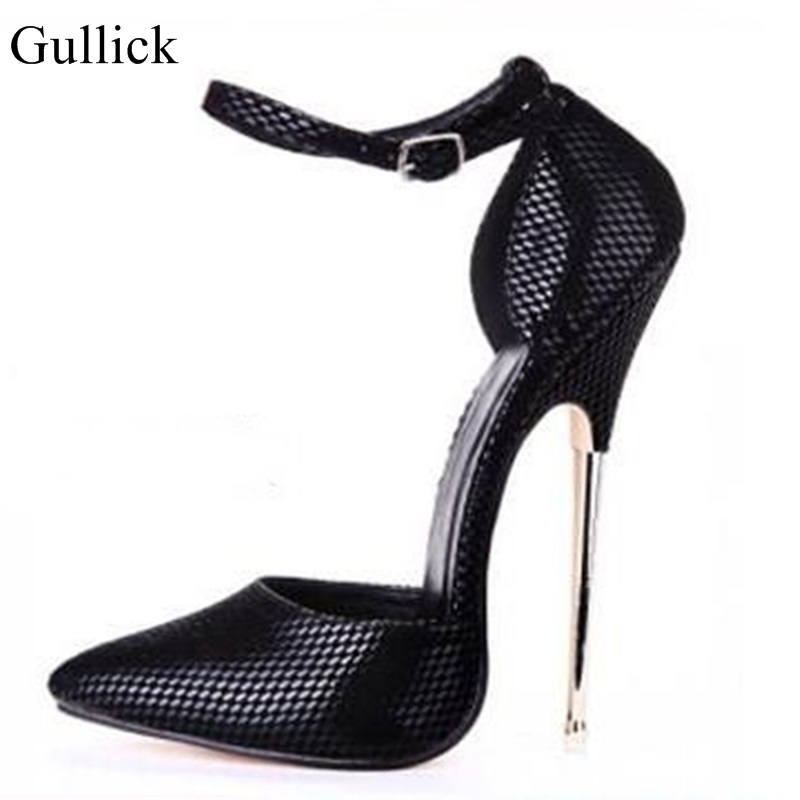 Gullick 16CM High Heels Pointed Toe Ankle Strap Pumps Cut-out Metal Heels Women Dress Shoes Sexy Thin Heels Wedding Party Shoes цена 2017