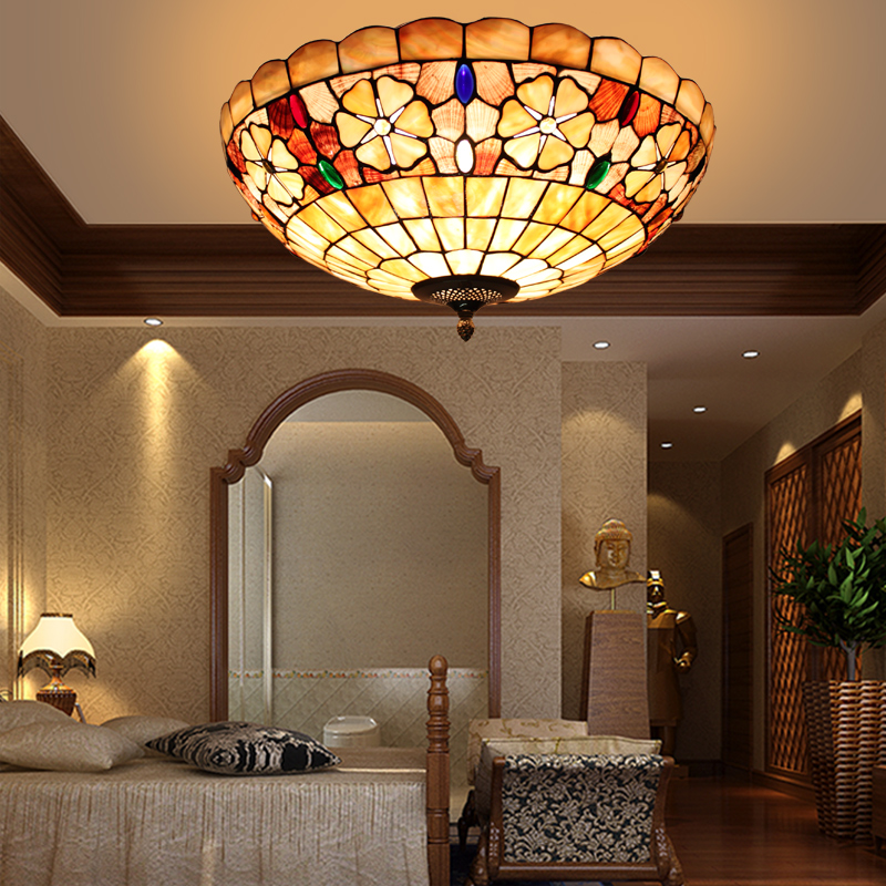 Europe Modern Tiffany Ceiling Light Shell Bedroom Balcony