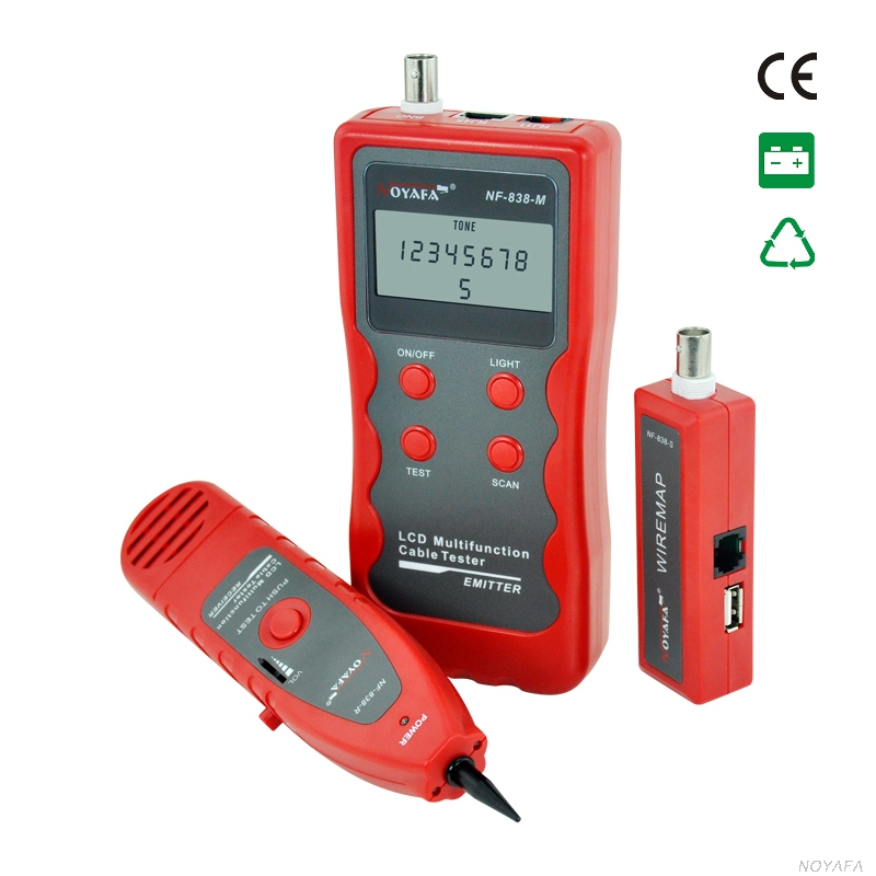 NF-838 Red color RJ45 BNC USB 1394 RJ11 Telephone Wire Tracker Line Finder Short circuit line cable Network Cable Finder NF_838