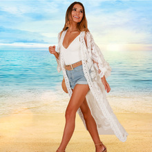 Lace Long Beach Kimono Cardigan White Cover Up Women Summer 2019 Boho Plus Size Clothing Bikini Outer Top Blouse Mesh Floral plus size floral embroidered mesh top