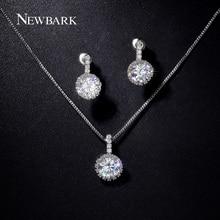 NEWBARK Jewelry Sets Wedding for Brides Bridesmaid Silver Color Big Sale 2ct CZ Pave Neckalce 1pair