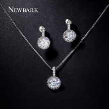 NEWBARK Wedding Jewelry Sets For Brides Silver Color CZ Pave Neckalce 1pair And Stud Earring Round
